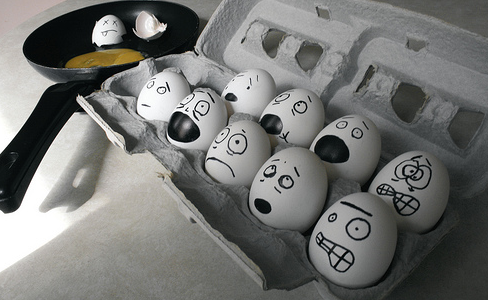 stressed faces on eggs